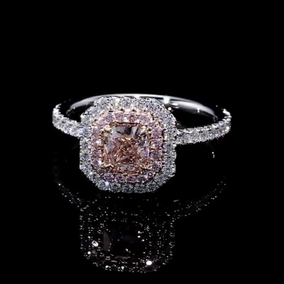 Cushion Cut Pink Sapphire 925 Sterling Silver Halo Engagement Rings