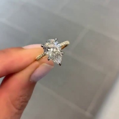 Pear Cut White Sapphire Gold 925 Sterling Silver Engagement Rings