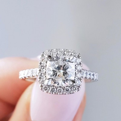 Cushion Cut White Sapphire 925 Sterling Silver Halo Engagement Rings