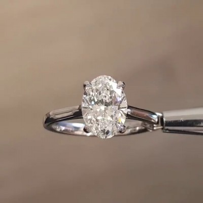 Oval Cut?White Sapphire 925 Sterling Silver Engagement Rings