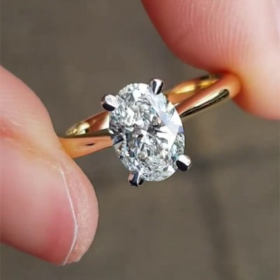 Oval Cut?White Sapphire Gold 925 Sterling Silver Engagement Rings