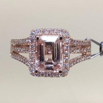 Radiant Cut?Pink Sapphire Rose Gold 925 Sterling Silver Halo Engagement Rings