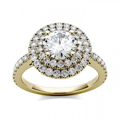 Round Cut White Sapphire Gold 925 Sterling Silver Halo Engagement Rings