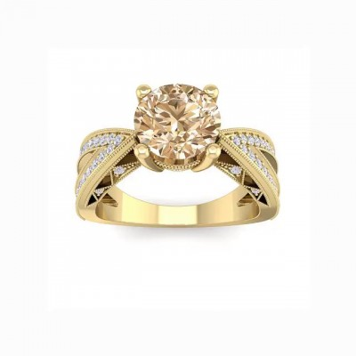 Round Cut Topaz Gold 925 Sterling Silver Engagement Rings