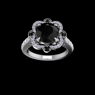 Round Cut Black Sapphire 925 Sterling Silver Halo Engagement Rings