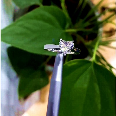 Heart Cut White Sapphire 925 Sterling Silver Engagement Rings