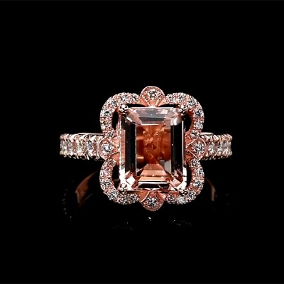 Radiant Cut Pink Sapphire Rose Gold 925 Sterling Silver Halo Engagement Rings