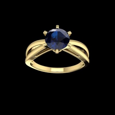 Round Cut Blue Sapphire Gold 925 Sterling Silver Engagement Rings