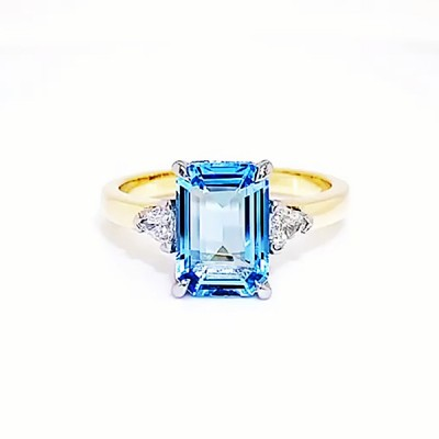 Emerald Cut Aquamarine Gold 925 Sterling Silver Engagement Rings