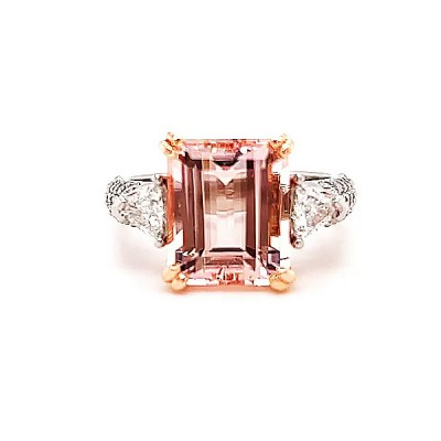 Emerald Cut Orange Sapphire 925 Sterling Silver Engagement Rings