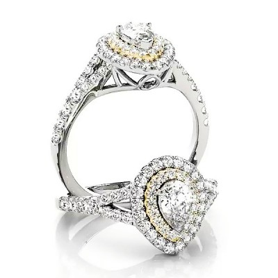 Pear Cut White Sapphire Gold 925 Sterling Silver Halo Engagement Rings