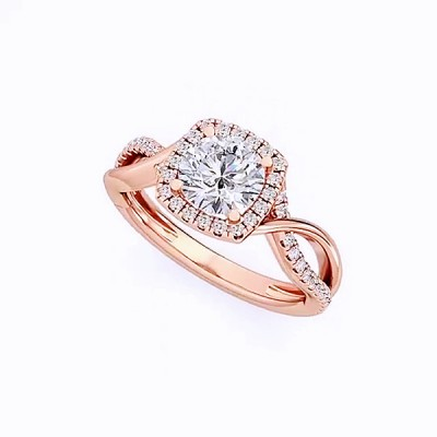Round Cut White Sapphire Roae Gold 925 Sterling Silver Halo Engagement Rings