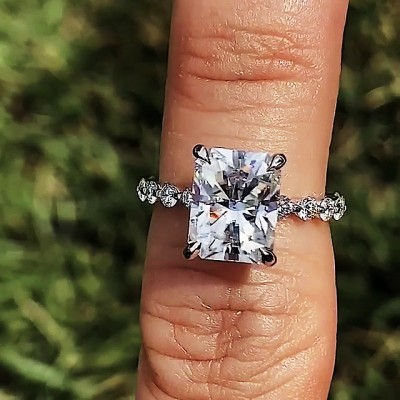 Radiant Cut?White Sapphire 925 Sterling Silver Engagement Rings