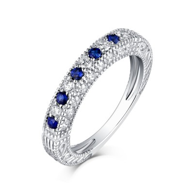 Round Cut Sapphire & White Sapphire S925 Silver Wedding Bands