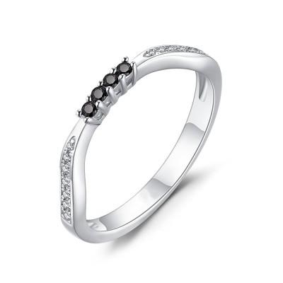 Round Cut Black Sapphire 925 Sterling Silver Women's Wedding Bands