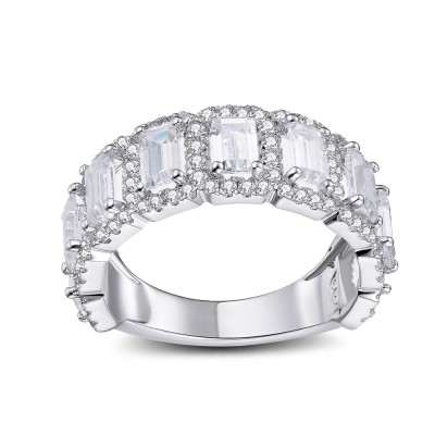 Radiant Cut White Sapphire 925 Sterling Silver Women's Wedding Bands