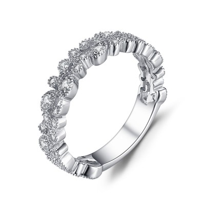 White Sapphire Round Cut 925 Sterling Silver Women's Wedding Bands