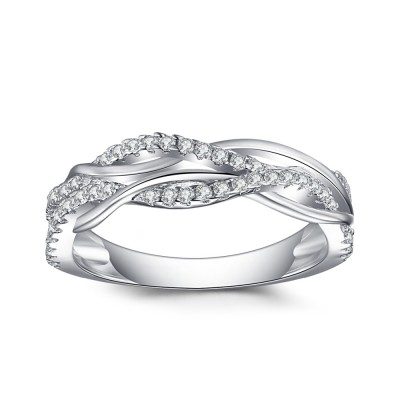 925 Sterling Silver Round Cut White Sapphire Women's Wedding Bands