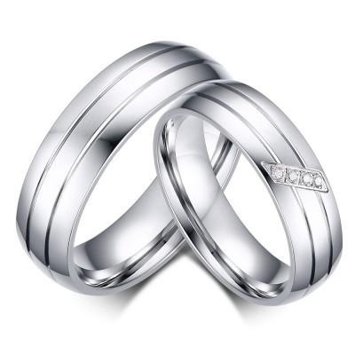 Elegant Silver Titanium Steel Promise Ring for Couples