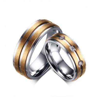 Elegant Gold Titanium Steel Promise Ring for Couples