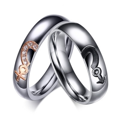 Silver Titanium Steel Round Cut Gemstone Promise Ring for Couples