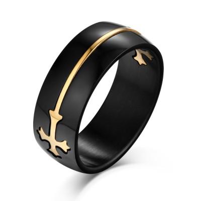 Gold Cross Design Black Titanium Steel Men's Ring