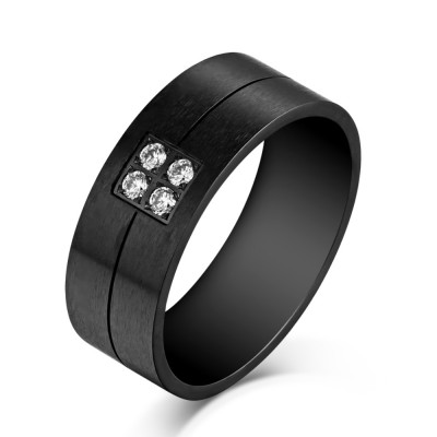 Round Cut Gemstone Black Titanium Steel Men's Ring