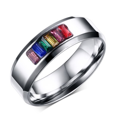 Colorful Gemstone Silver Titanium Steel Men's Ring