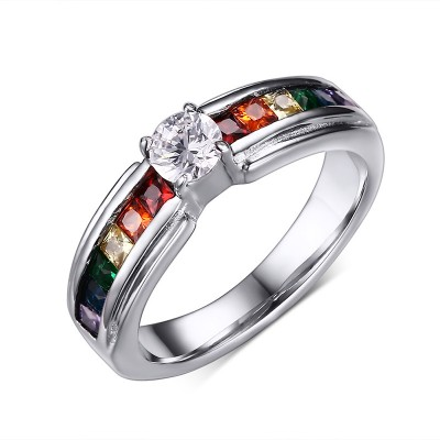 Rainbow Colorful Gemstone Silver Titanium Steel Women's Engagement Ring