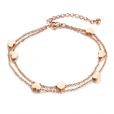 Titanium Rose Gold Hearts Bracelets