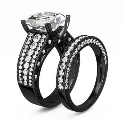 Emerald Cut Gemstone Black 925 Sterling Silver Bridal Sets