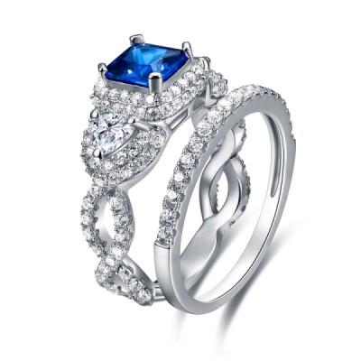 Princess Cut 925 Sterling Silver Blue Sapphire Women's Bridal Sets