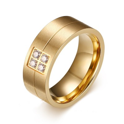 Round Cut White Sapphire Gold Titanium Steel Men's Ring