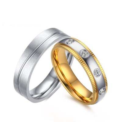 Gold & Silver White Sapphire Titanium Steel Promise Rings for Couples