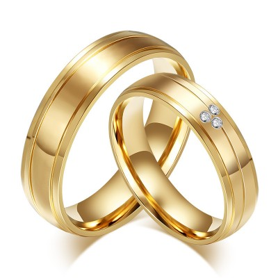 Titanium Steel Gold Round Cut White Sapphire Promise Rings for Couples