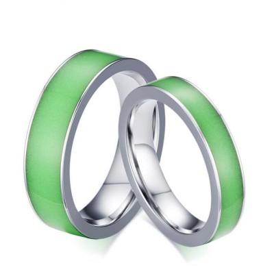 Luminous Titanium Steel Silver Promise Rings for Couples
