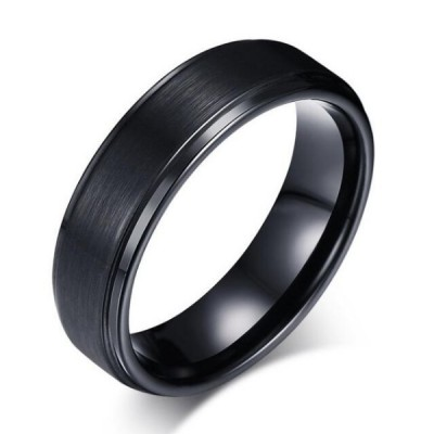 Tungsten Simple Cool Black Men's Ring