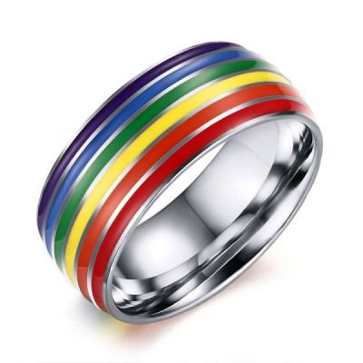 Titanium Silver Rainbow Men's Ring