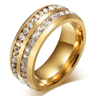 Titanium Shining Round Cut White Sapphire Gold Promise Rings For Her