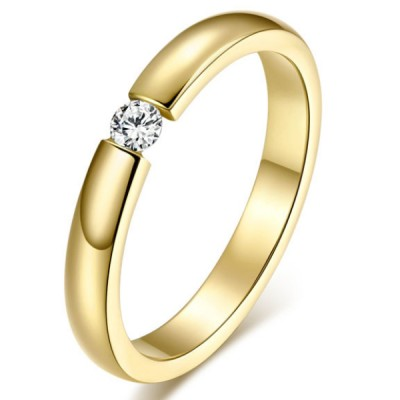 Titanium Gold Round Cut White Sapphire Promise Rings For Her