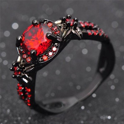 Round Cut Ruby Black Promise Rings For Her