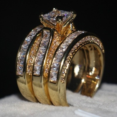 Princess Cut White Gold Plated 3 Piece Bridal Sets