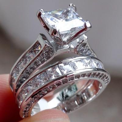 Princess Cut White Sapphire Bridal Sets