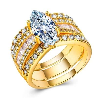 Gorgeous Marquise Cut White Sapphire Gold 3 Piece Bridal Sets
