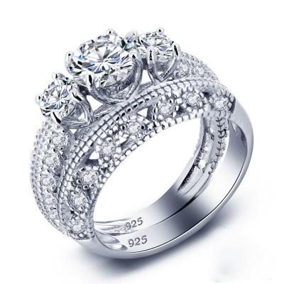 Round Cut White Sapphire Silver 3-Stone Bridal Sets