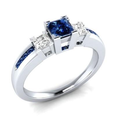 Princess Cut Bule & White Sapphire 3-Stone Engagement Ring