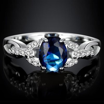 Oval Cut Blue Sapphire Engagement Ring