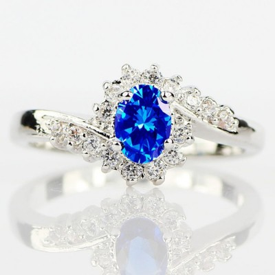 Unique Oval Cut Blue Sapphire Women's Ring
