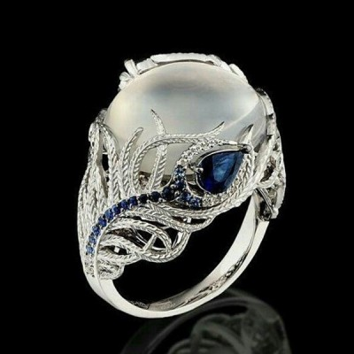 Unique Floral Moonstone Cocktail Ring for Women