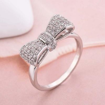 Lovely Bowknot White Sapphire Women's Ring
